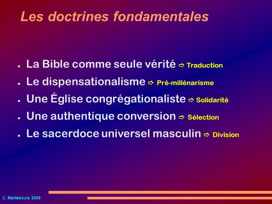 Les doctrines fondamentales