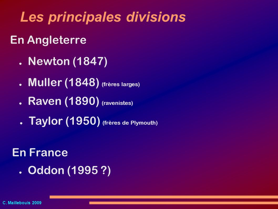 Les principales divisions