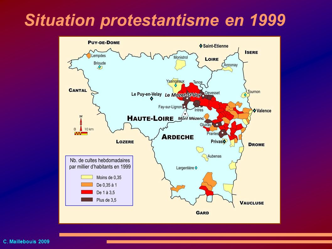 Situation protestantisme en 1999