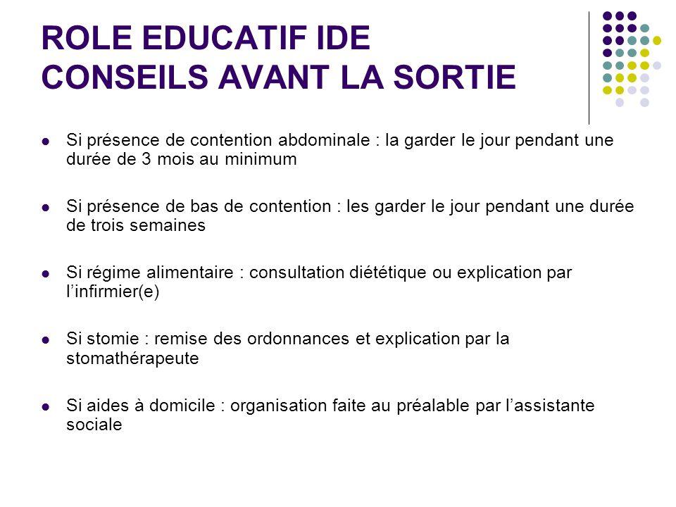ROLE EDUCATIF IDE CONSEILS AVANT LA SORTIE