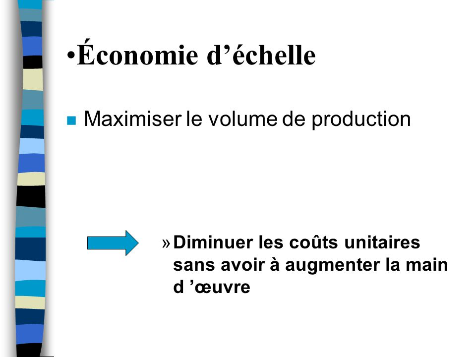 Économie d'échelle Maximiser le volume de production