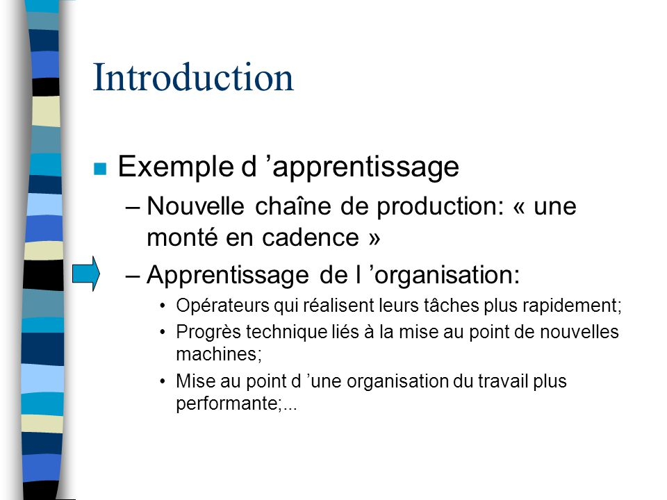 Introduction Exemple d 'apprentissage