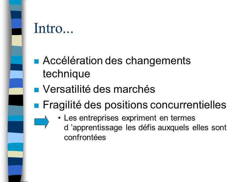 Intro... Accélération des changements technique