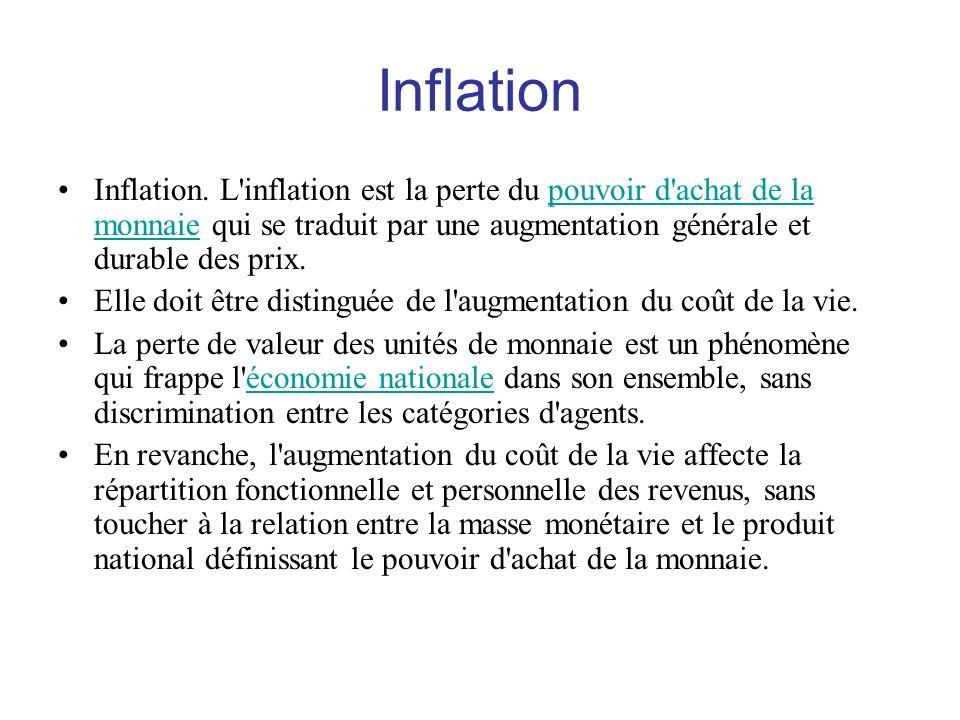 Inflation Inflation. L inflation est la perte du pouvoir d achat de la monnaie qui se traduit par une augmentation générale et durable des prix.