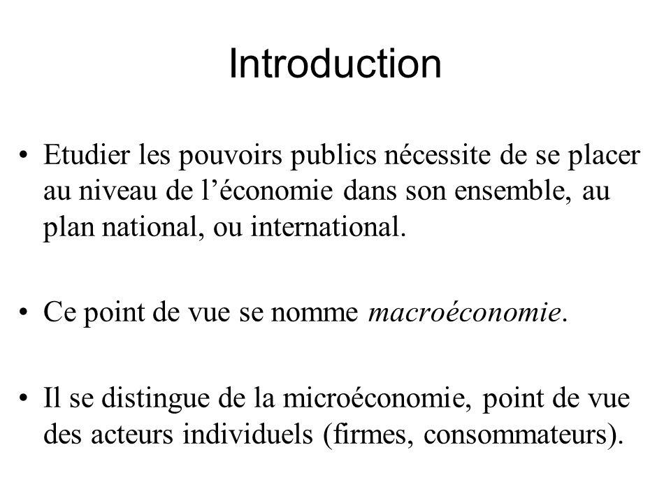 Introduction Etudier les pouvoirs publics nécessite de se placer au niveau de l'économie dans son ensemble, au plan national, ou international.