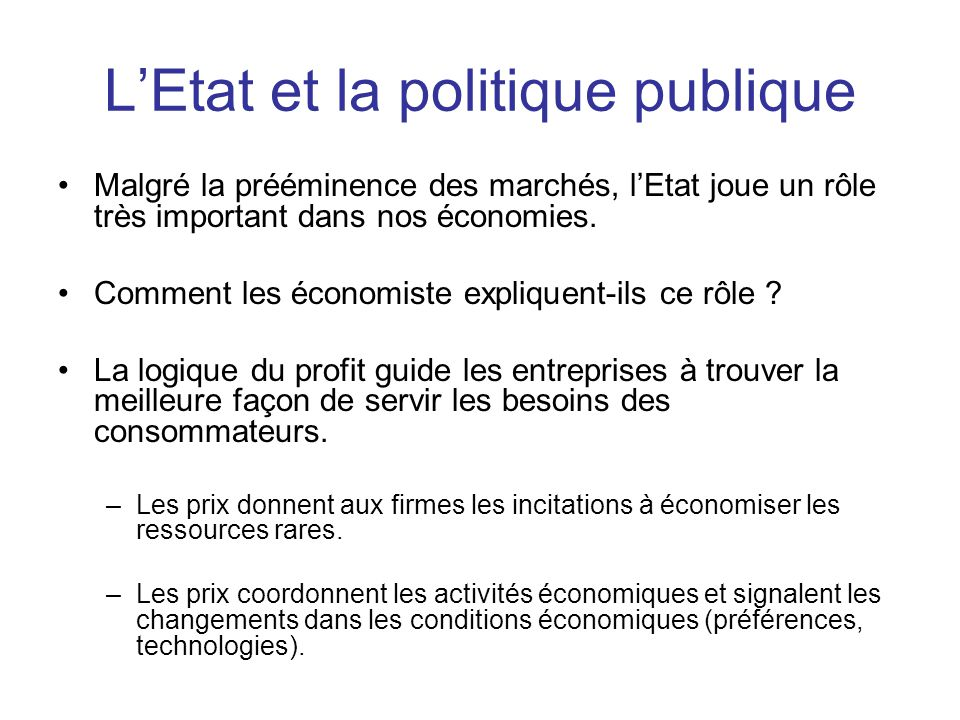 L'Etat et la politique publique