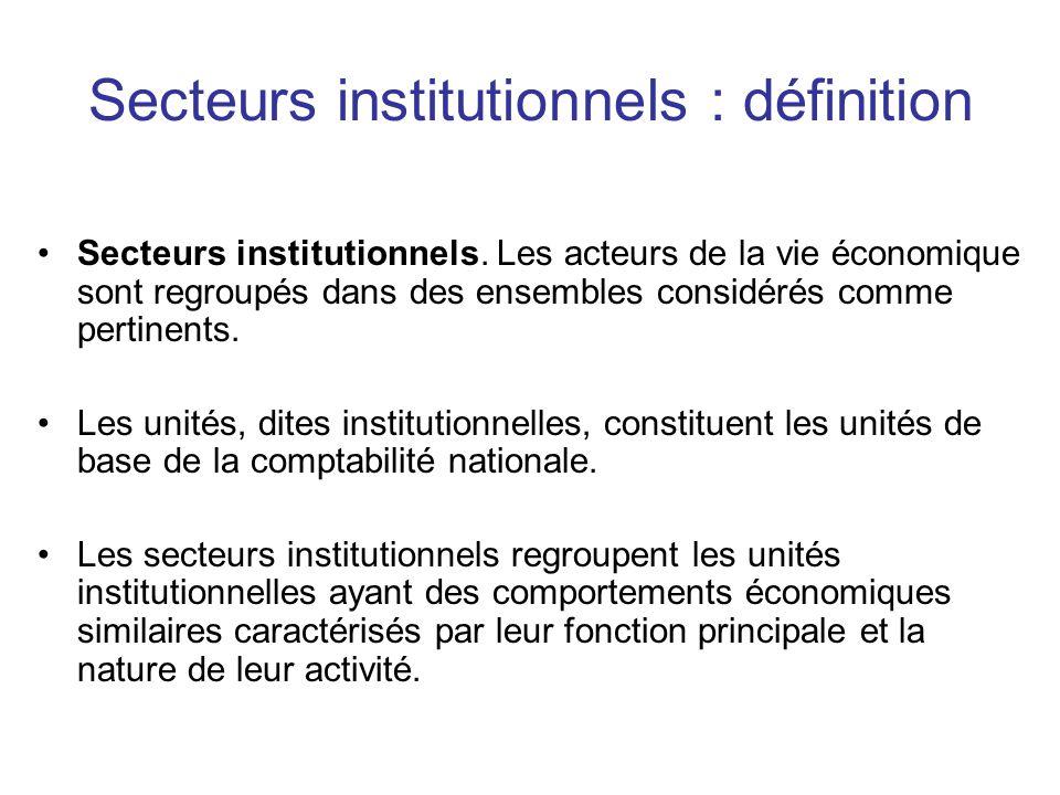 Secteurs institutionnels : définition