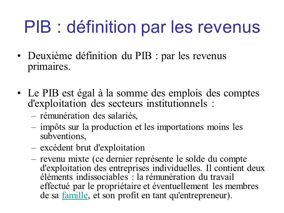 PIB : définition par les revenus