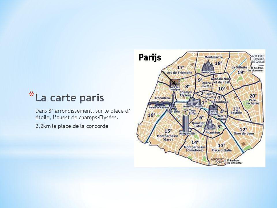 La carte paris Dans 8e arrondissement, sur le place d' étoile, l'ouest de champs-Elysées.
