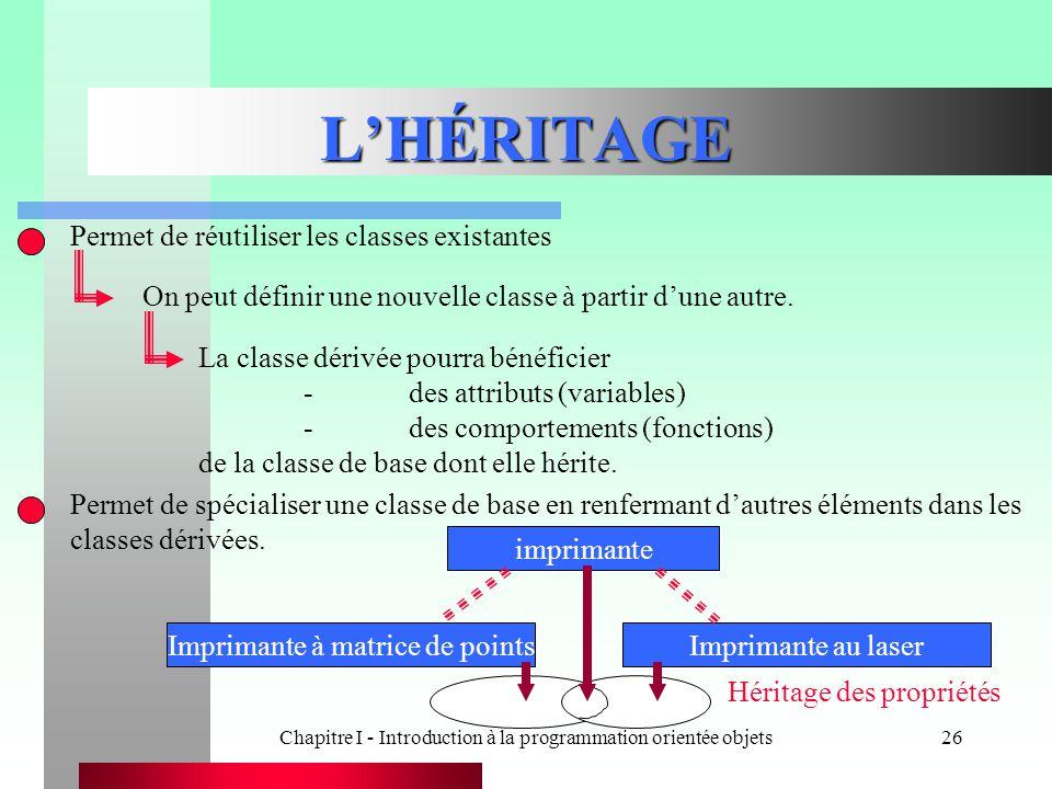 L'HÉRITAGE Permet de réutiliser les classes existantes