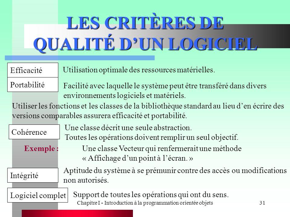 LES CRITÈRES DE QUALITÉ D'UN LOGICIEL