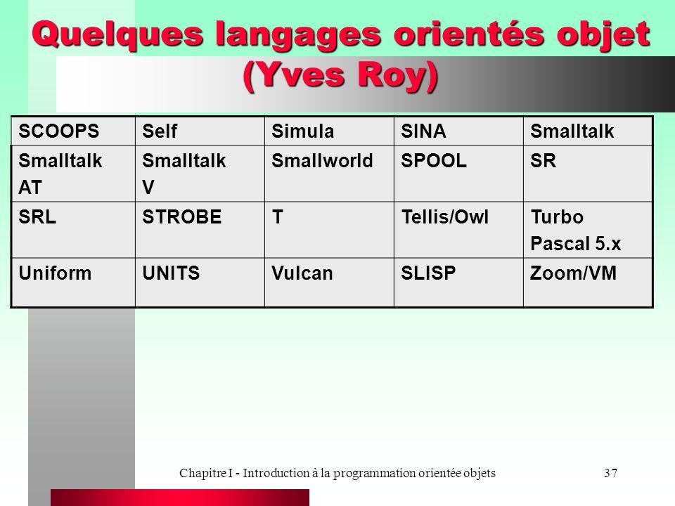 Quelques langages orientés objet (Yves Roy)