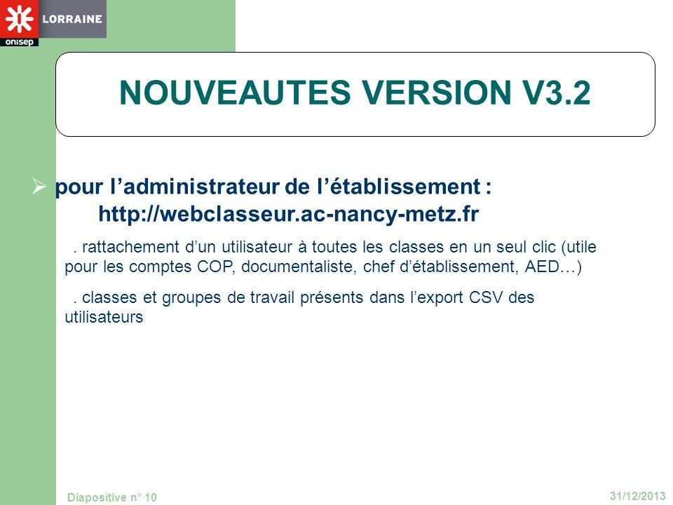 NOUVEAUTES VERSION V3.2pour l'administrateur de l'établissement : http://webclasseur.ac-nancy-metz.fr.