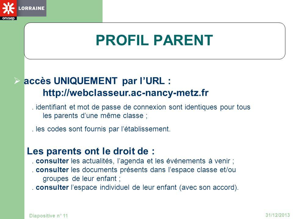 PROFIL PARENTaccès UNIQUEMENT par l'URL : http://webclasseur.ac-nancy-metz.fr.