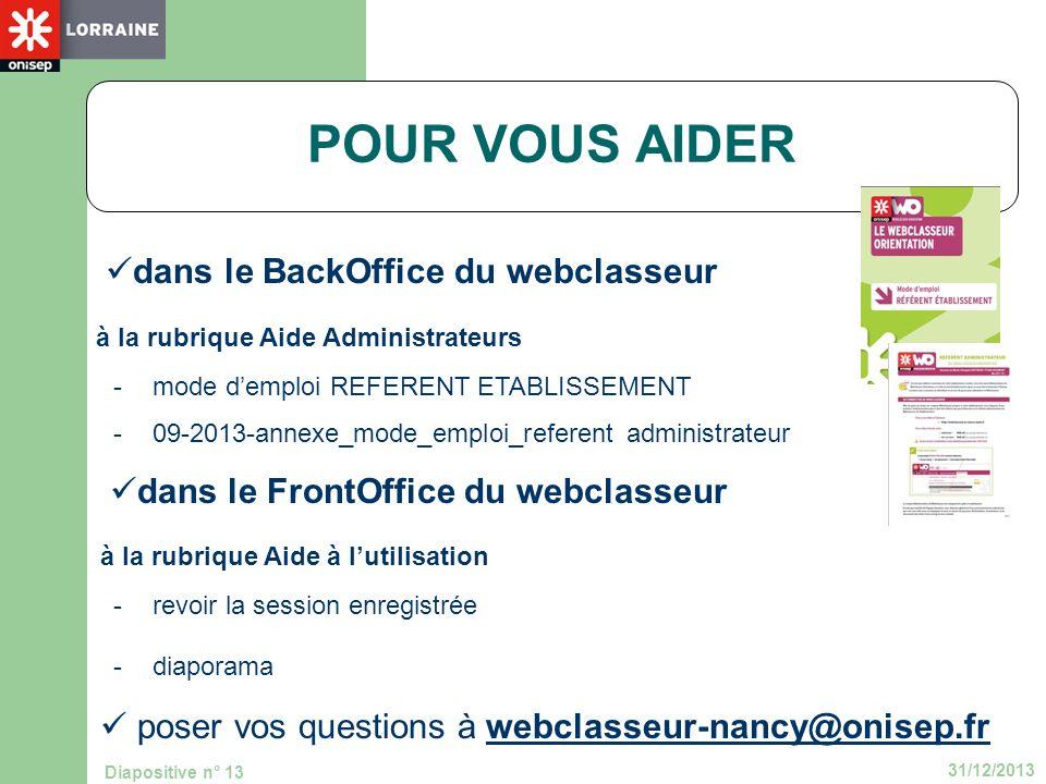 POUR VOUS AIDER dans le BackOffice du webclasseur