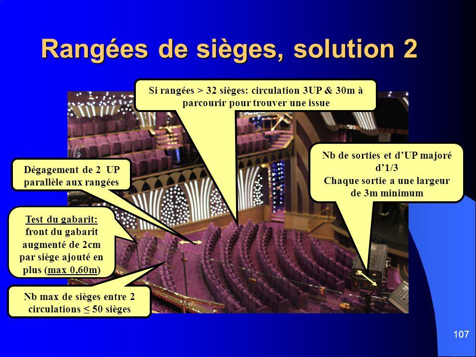 Rangées de sièges, solution 2