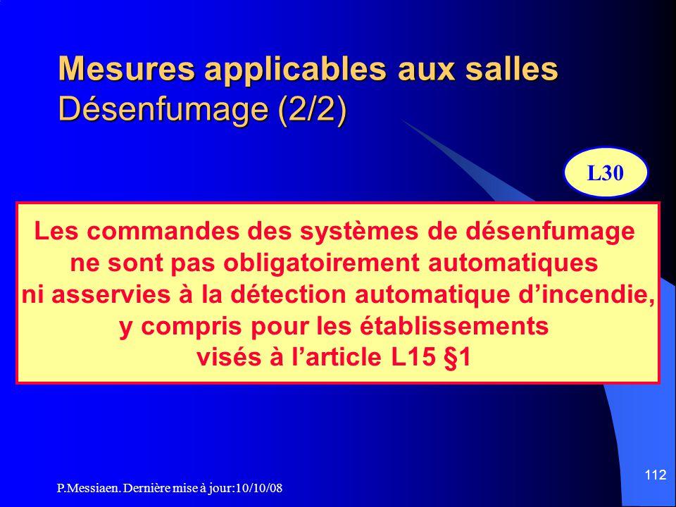 Mesures applicables aux salles Désenfumage (2/2)