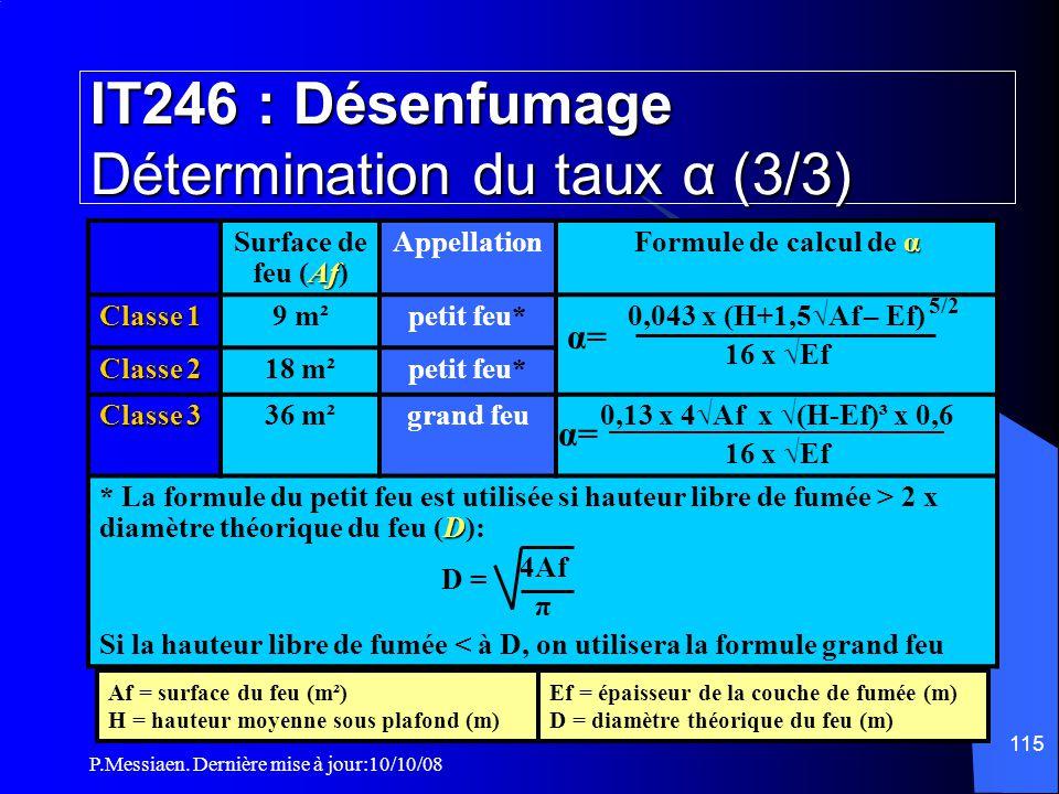IT246 : Désenfumage Détermination du taux α (3/3)
