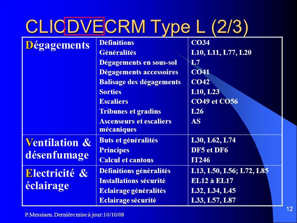 CLICDVECRM Type L (2/3) Dégagements Ventilation & désenfumage