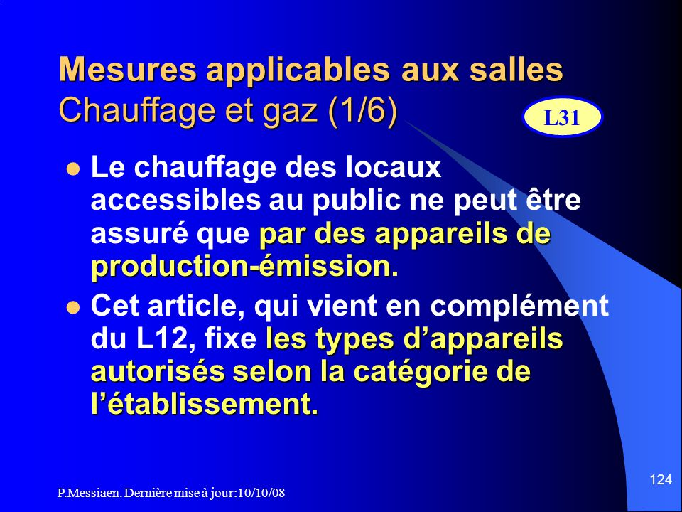 Mesures applicables aux salles Chauffage et gaz (1/6)