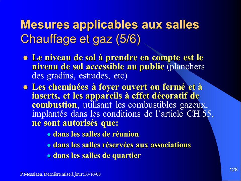 Mesures applicables aux salles Chauffage et gaz (5/6)