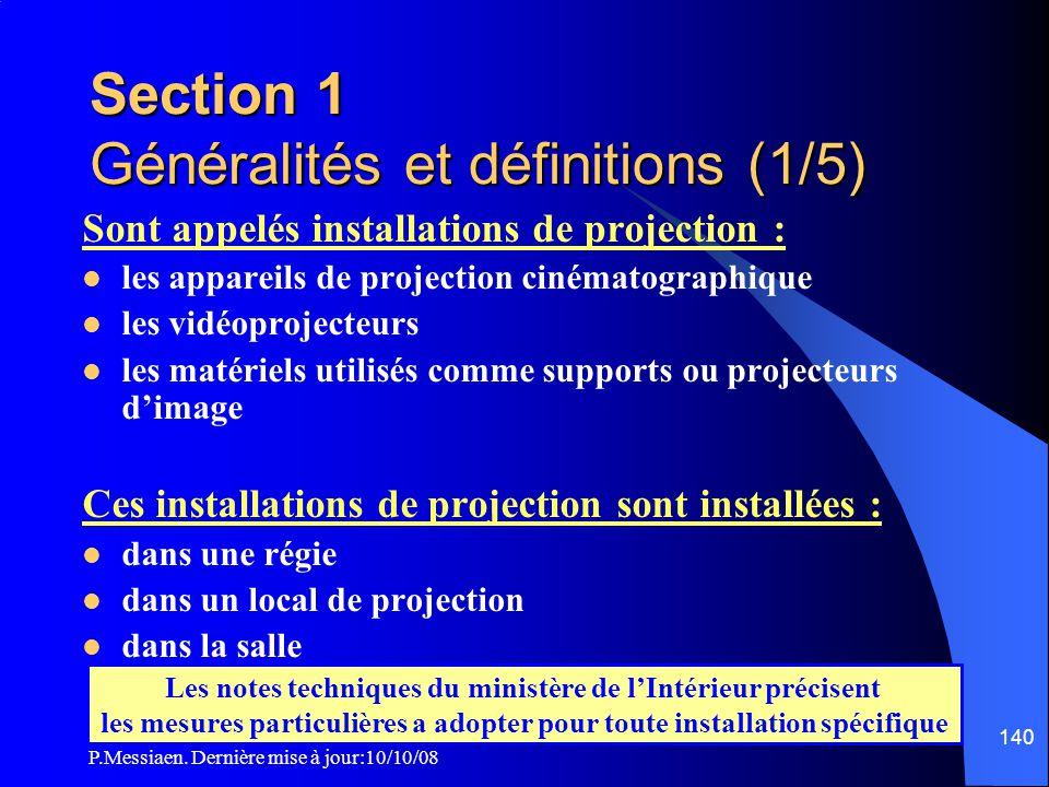 Section 1 Généralités et définitions (1/5)