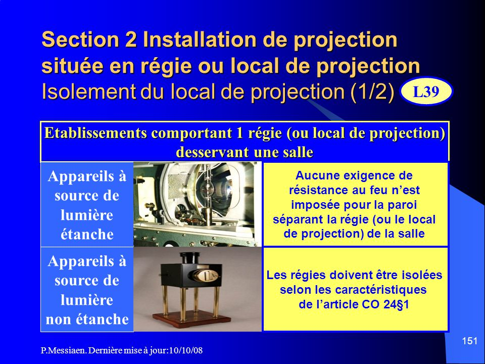 Section 2 Installation de projection située en régie ou local de projection Isolement du local de projection (1/2)