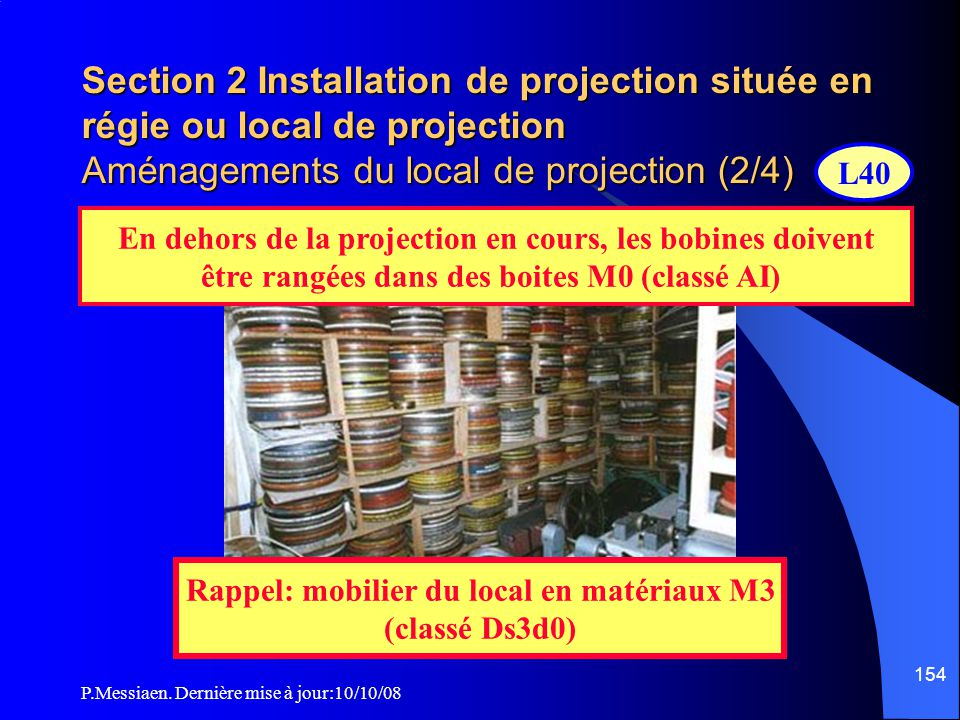 Section 2 Installation de projection située en régie ou local de projection Aménagements du local de projection (2/4)