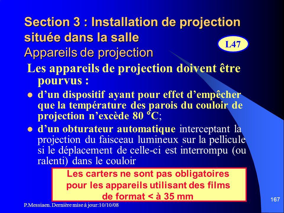 Les appareils de projection doivent être pourvus :