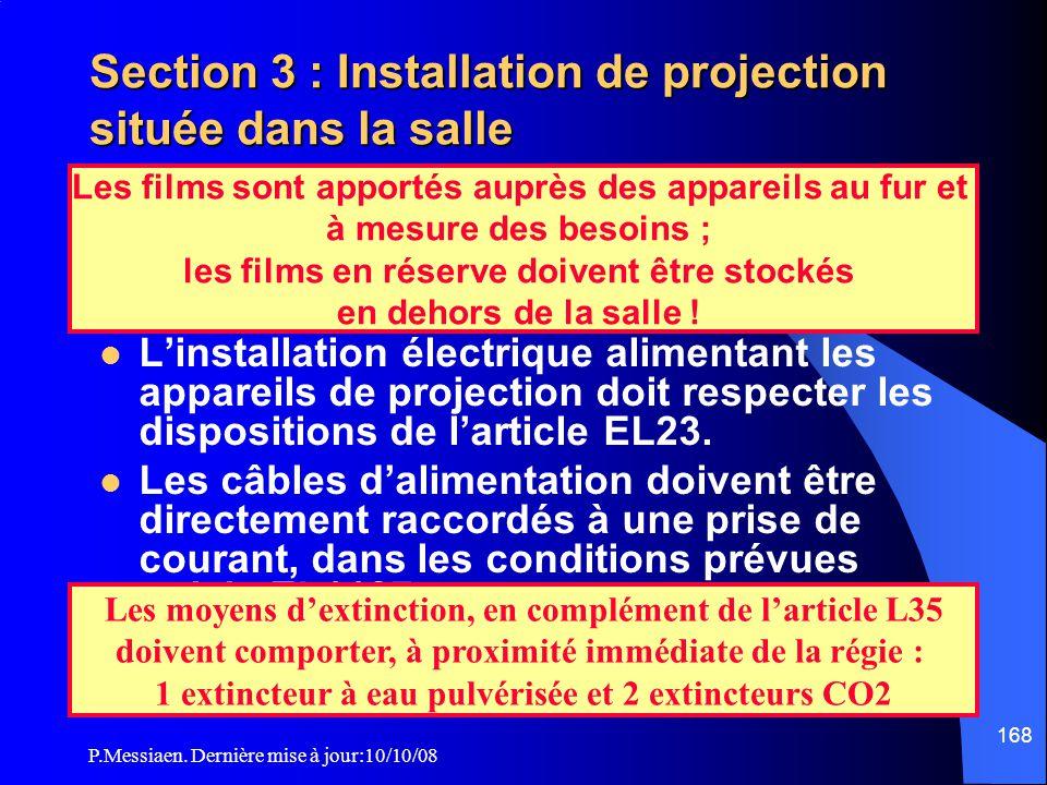 Section 3 : Installation de projection située dans la salle Installations électriques