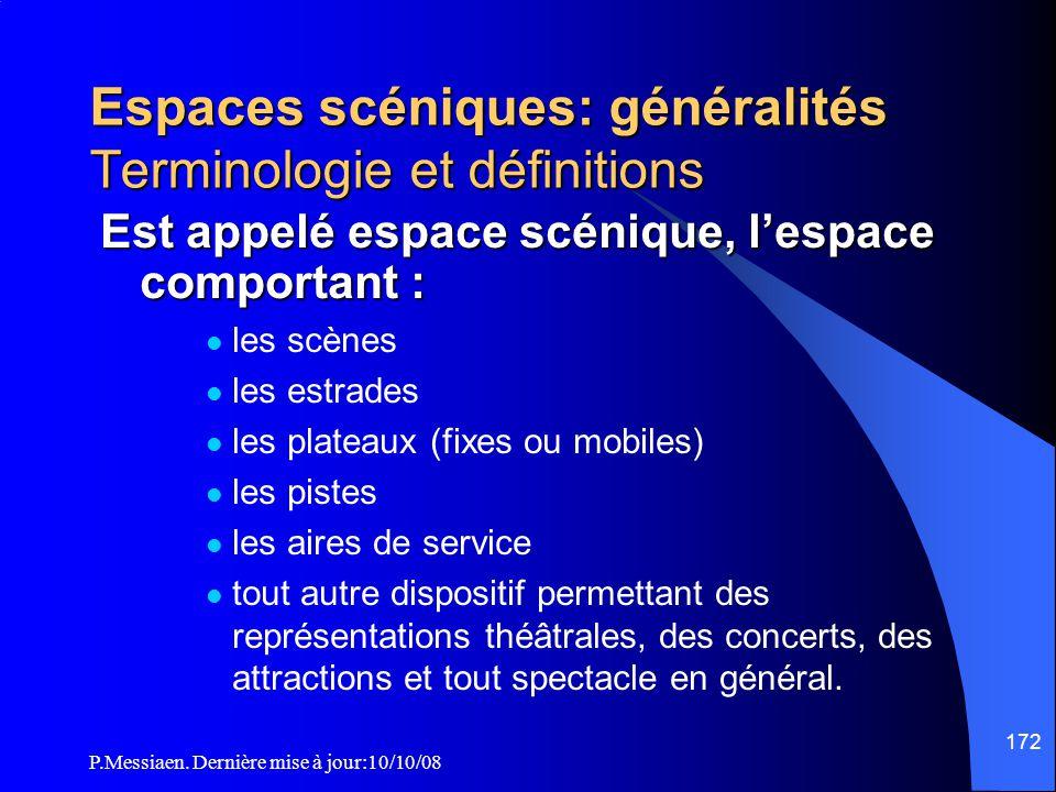 Espaces scéniques: généralités Terminologie et définitions