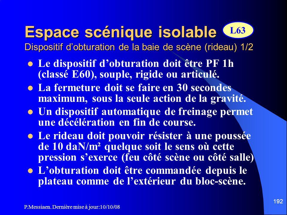 Espace scénique isolable Dispositif d'obturation de la baie de scène (rideau) 1/2