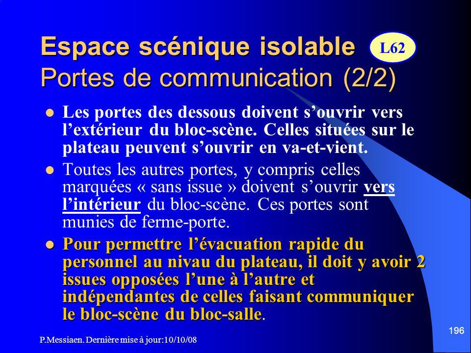 Espace scénique isolable Portes de communication (2/2)