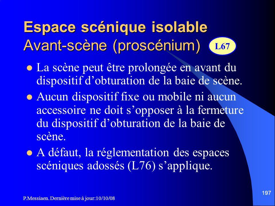 Espace scénique isolable Avant-scène (proscénium)