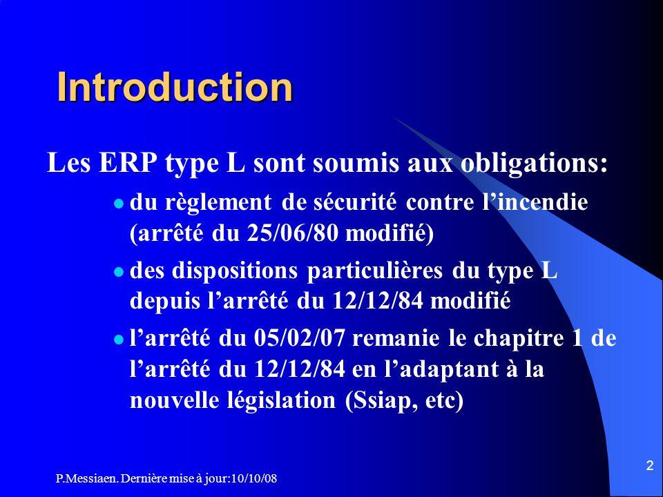 Introduction Les ERP type L sont soumis aux obligations: