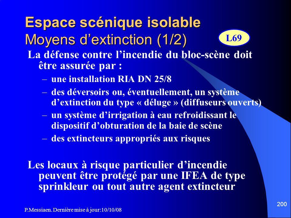 Espace scénique isolable Moyens d'extinction (1/2)