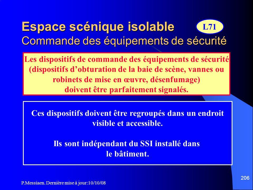 Espace scénique isolable Commande des équipements de sécurité