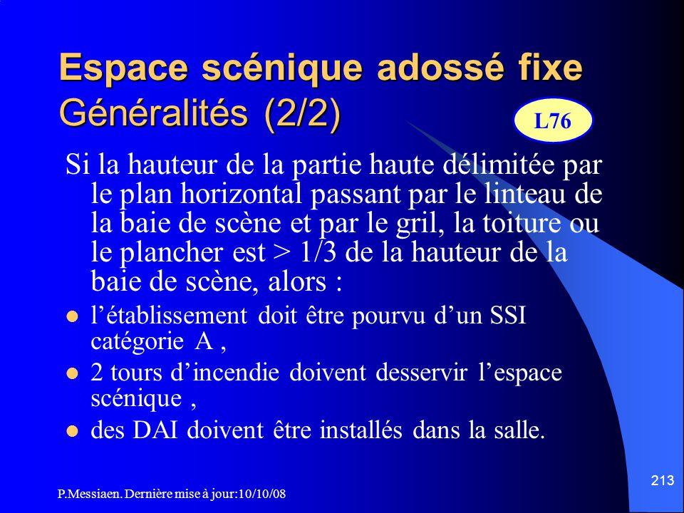 Espace scénique adossé fixe Généralités (2/2)