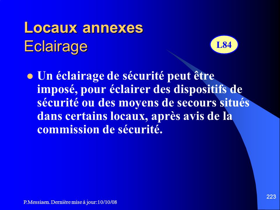 Locaux annexes Eclairage
