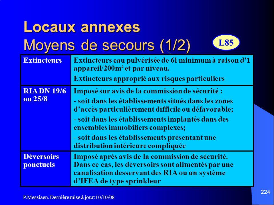 Locaux annexes Moyens de secours (1/2)