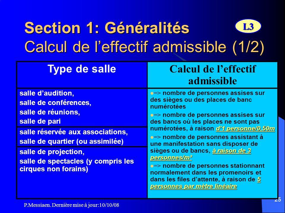 Section 1: Généralités Calcul de l'effectif admissible (1/2)