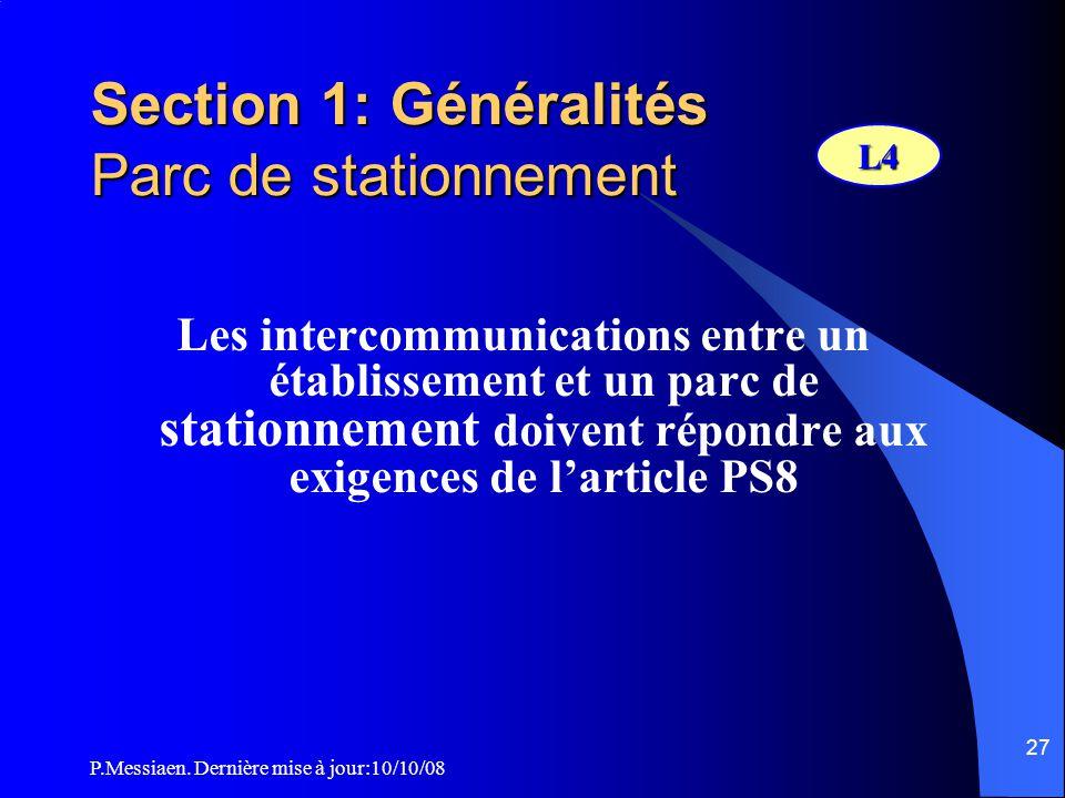 Section 1: Généralités Parc de stationnement