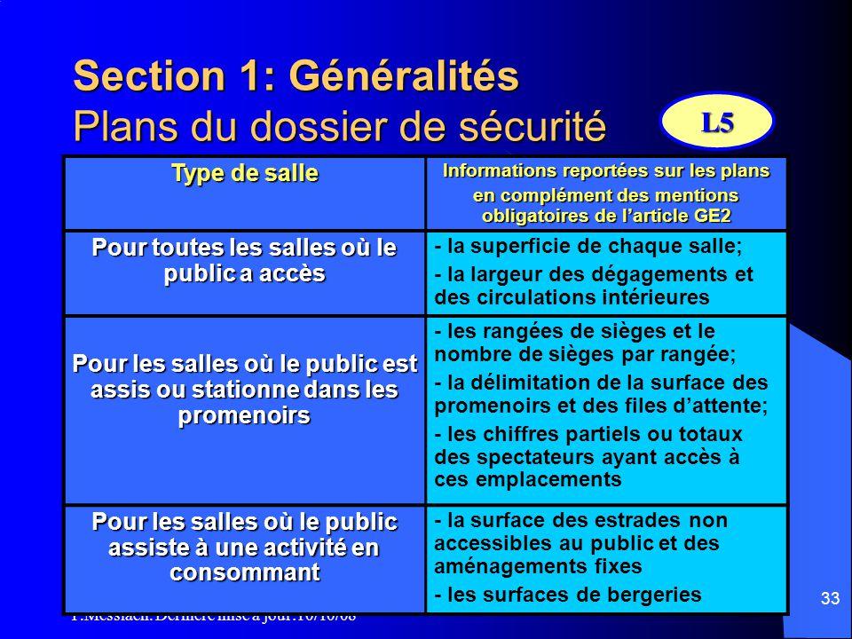 Section 1: Généralités Plans du dossier de sécurité