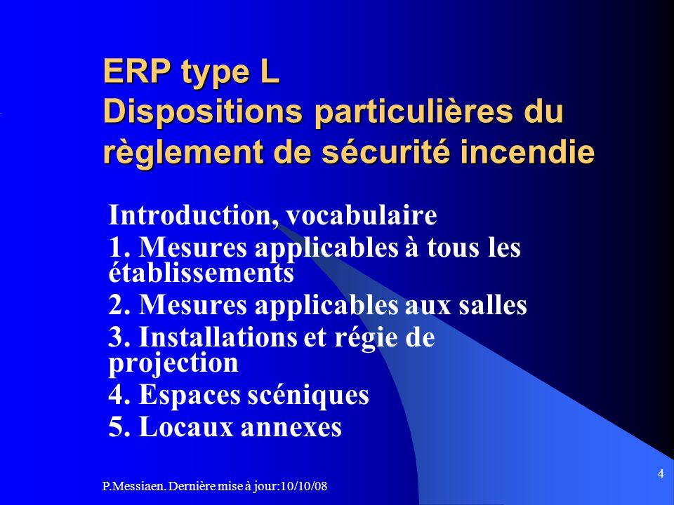 ERP type L Dispositions particulières du règlement de sécurité incendie