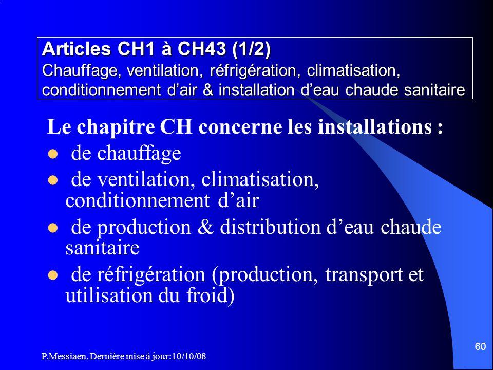 Le chapitre CH concerne les installations : de chauffage