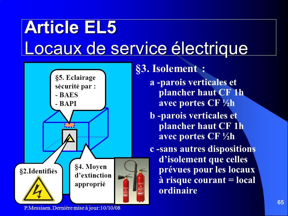 Article EL5 Locaux de service électrique