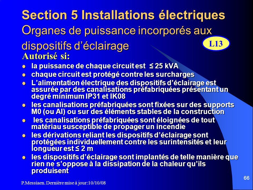 Section 5 Installations électriques Organes de puissance incorporés aux dispositifs d'éclairage