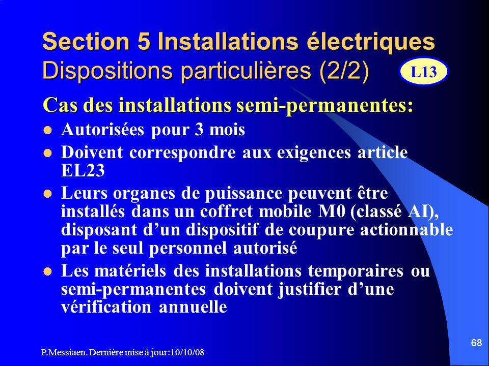Section 5 Installations électriques Dispositions particulières (2/2)