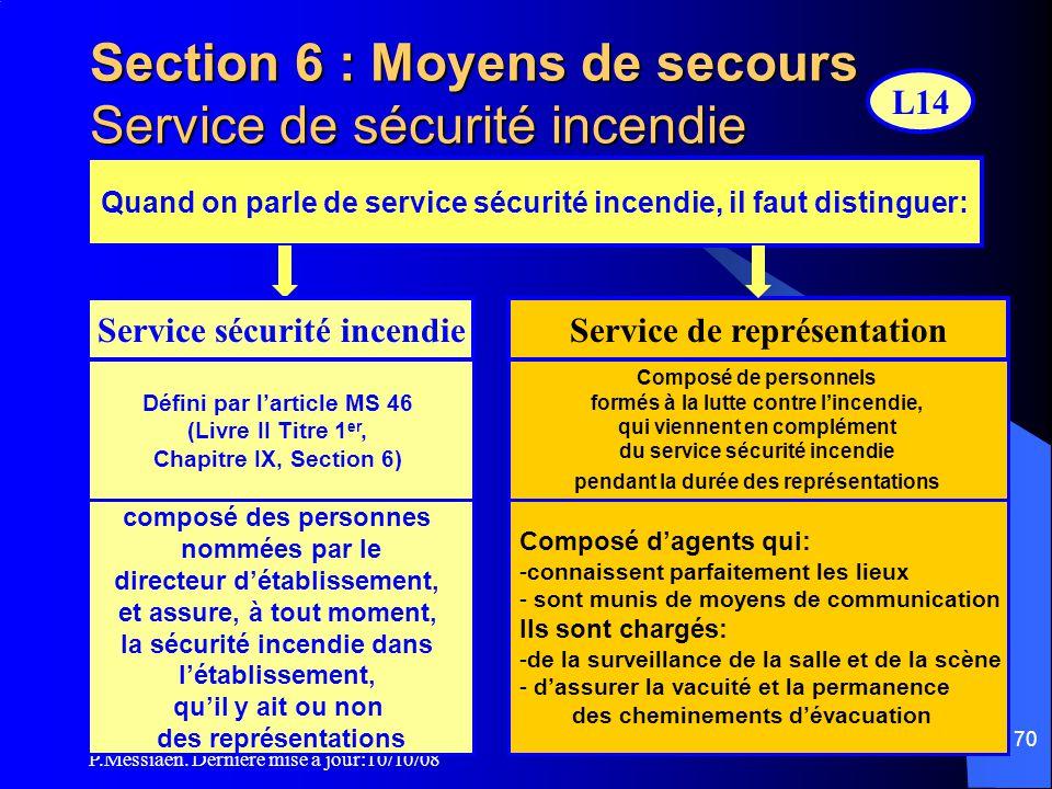 Section 6 : Moyens de secours Service de sécurité incendie