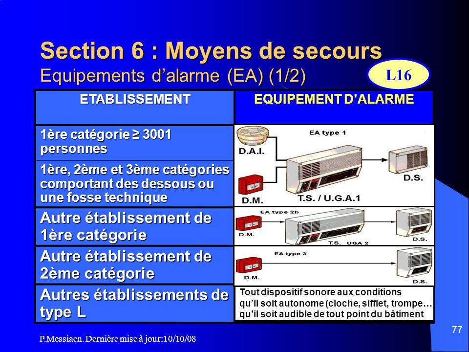 Section 6 : Moyens de secours Equipements d'alarme (EA) (1/2)